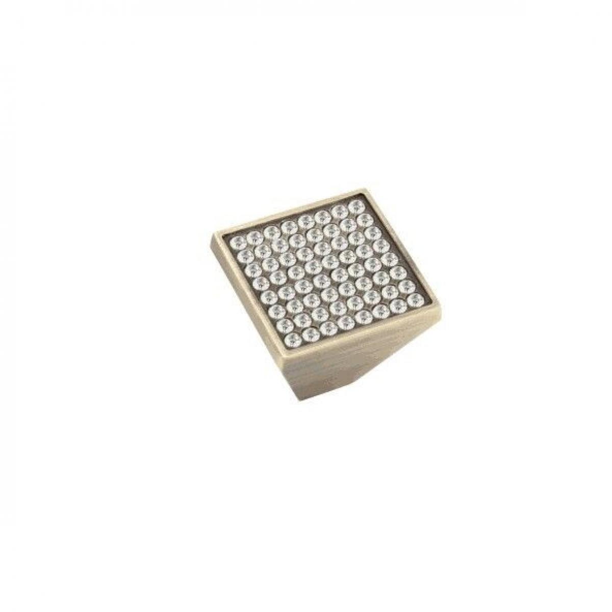 Ручка-кнопка 407 замак/кристаллы бронза матовая