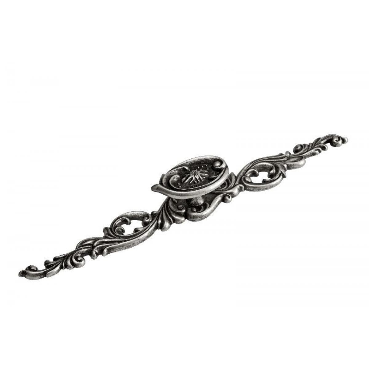 Ручка-кнопка 192 на декор.площадке L240мм замак античный никель