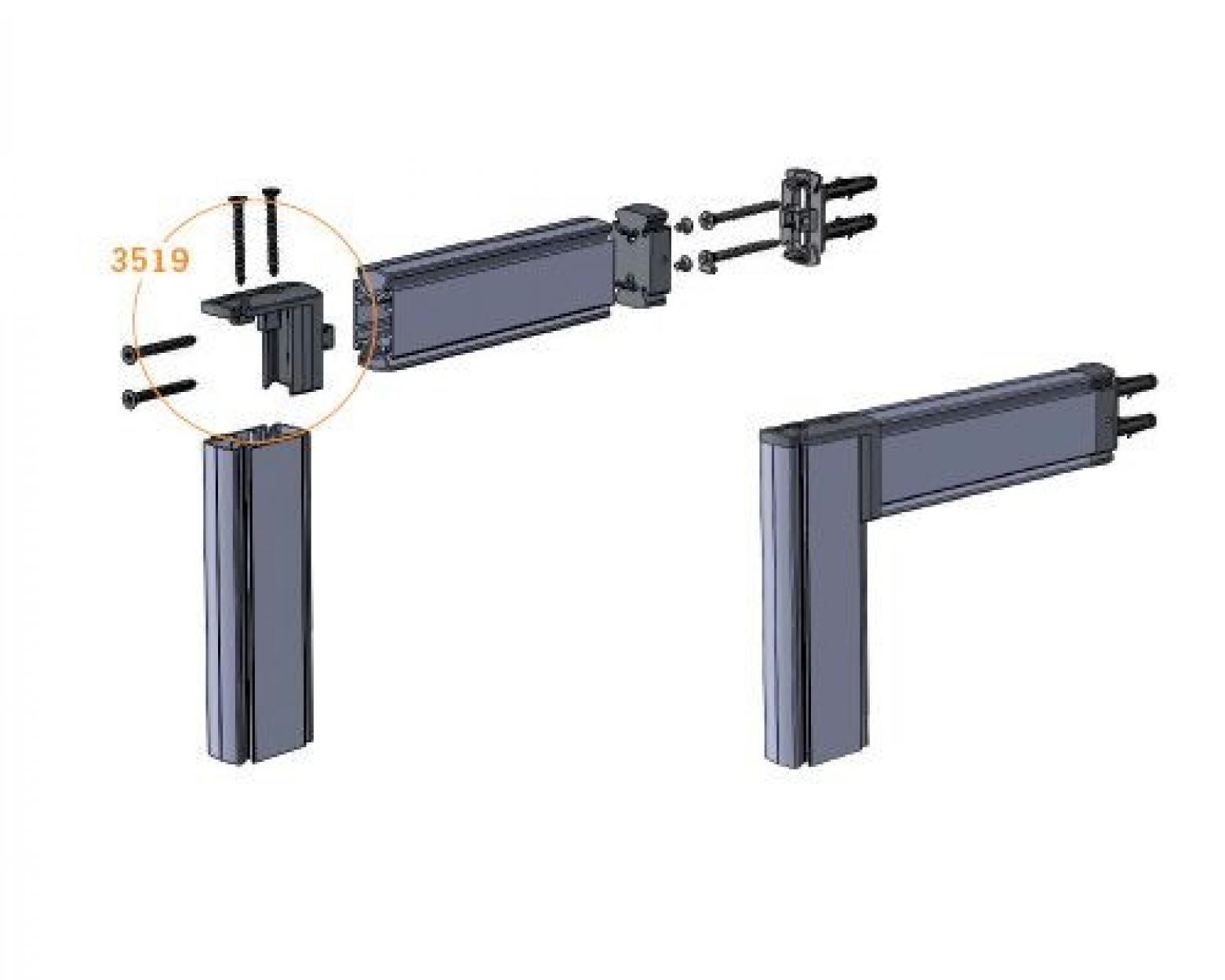 Stilos 3519 угловое соединение для профиля под углом 90 градусов