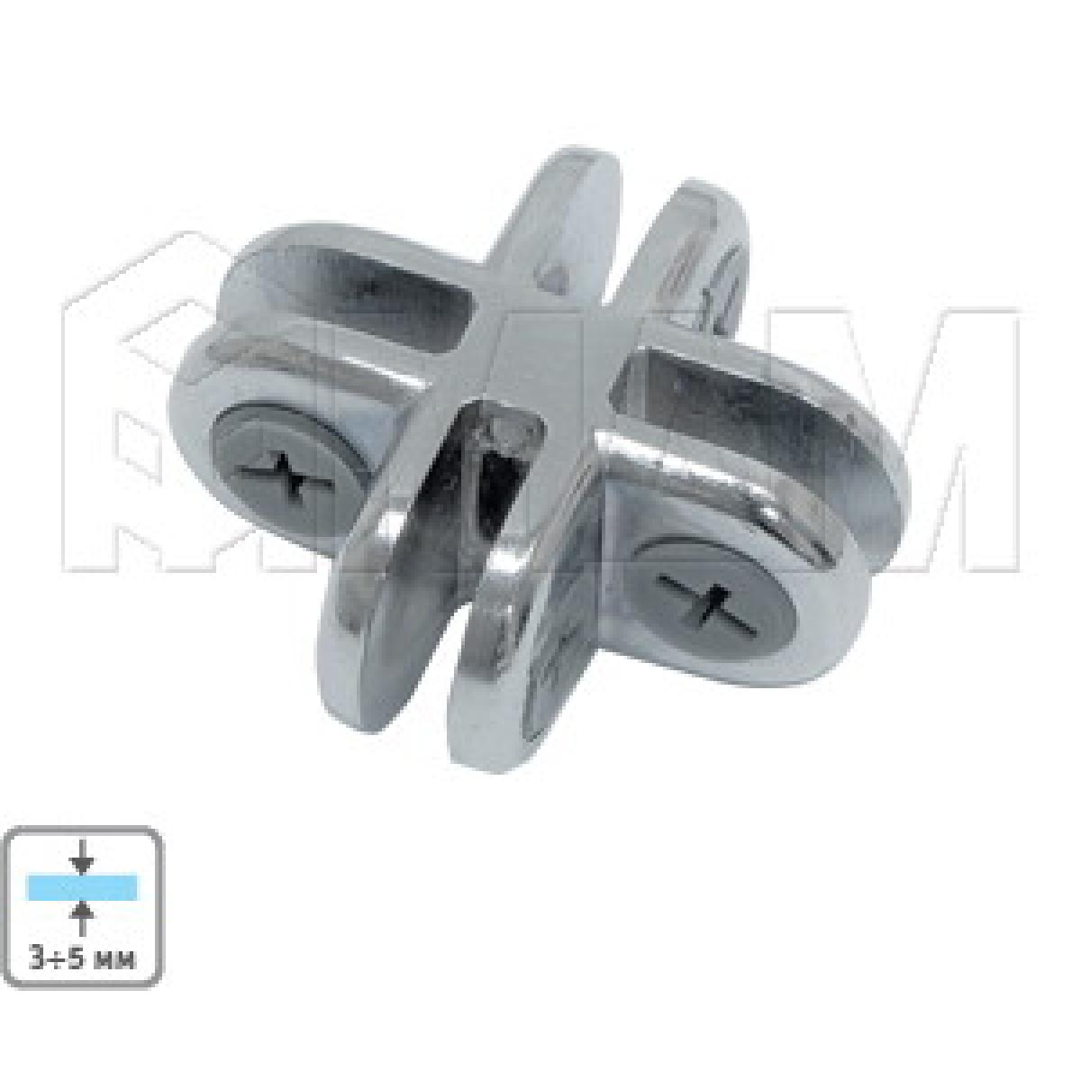 Соединители - Соединитель для 4-х стекол 5 мм, хром, 1 шт