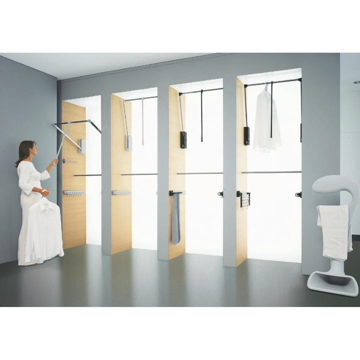 Лифт SERVETTO для одежды 60-120 см с нагрузкой до 10 кг. серый