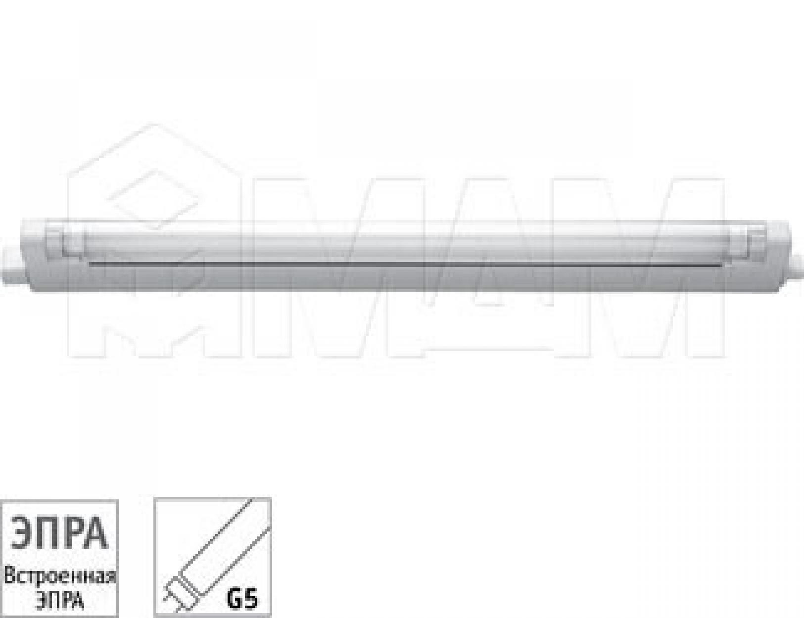 Светильник люминесцентный закрытый, 270 мм, T4, 6W