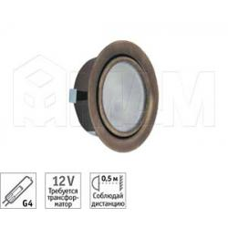Точечный врезной светильник, бронза, с лампой, G4, 20W