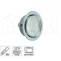 Точечный врезной светильник, хром, с лампой, G4, 20W