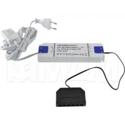 """Блок питания с терминалом розеток 6 шт., тип """"LED"""" и сетевым проводом, AC-230/DC-12V, IP31, 30W"""