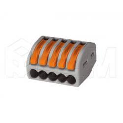 222 Клемма на пять подключений с рычажком, для проводов 0.08-4.0 кв.мм, ток 32А