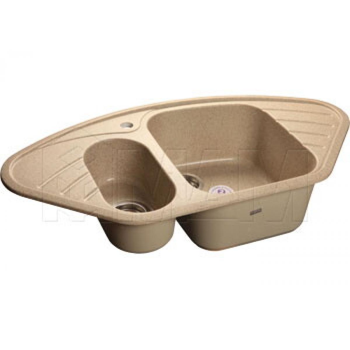 Мойки - CORNER 960E Мойка мрамор угловая, песочный, 960x510, B900x900