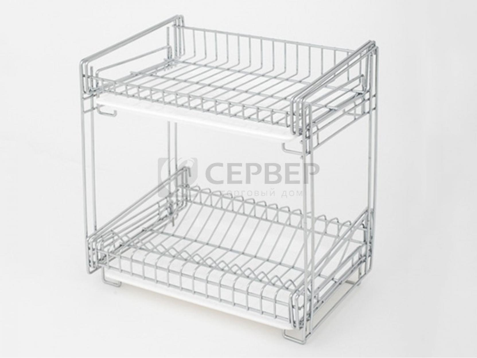 Полка двухъярусная для стаканов и тарелок настольная 340x235x350мм, хром, CWJ268C
