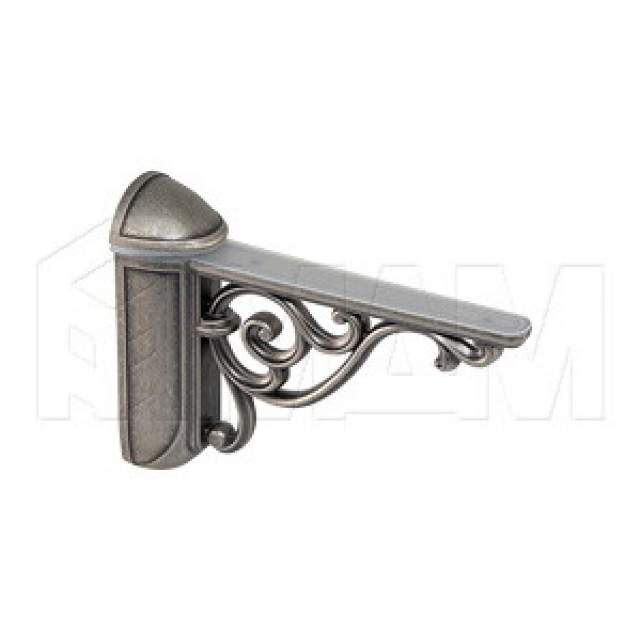 VENICE Менсолодержатель для деревянных и стеклянных полок 4 - 40 мм, L-125 мм, серебро состаренное