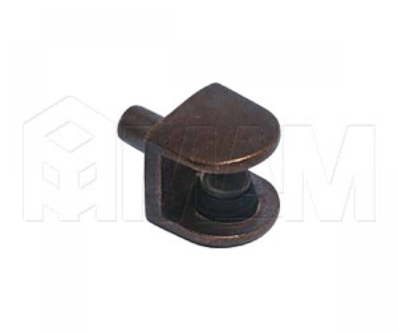 Полкодержатель для стеклянных полок толщиной 5-8 мм, со штоком, бронза