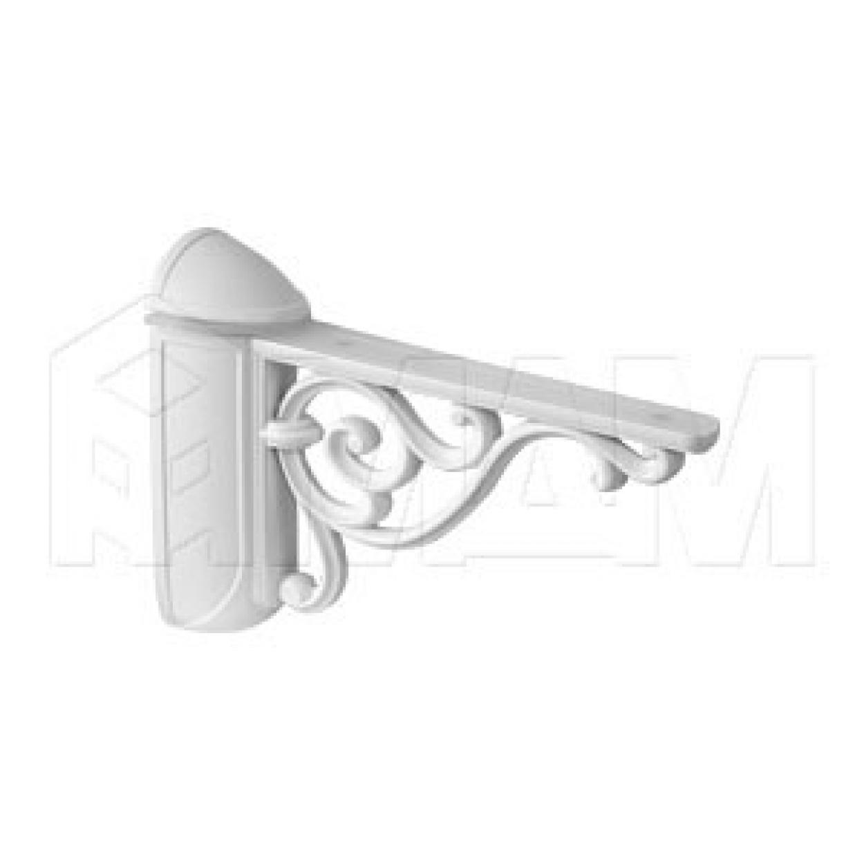 VENICE Менсолодержатель для деревянных и стеклянных полок 4 - 40 мм, L-125 мм, белый матовый
