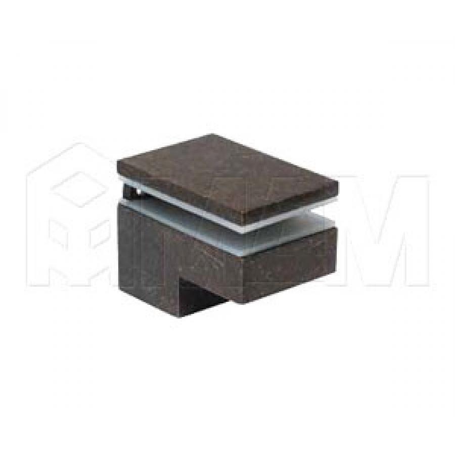 Менсолодержатель 40Х60 мм для деревянных и стеклянных полок 6 -25 мм, бронза патинированная (2 шт.)