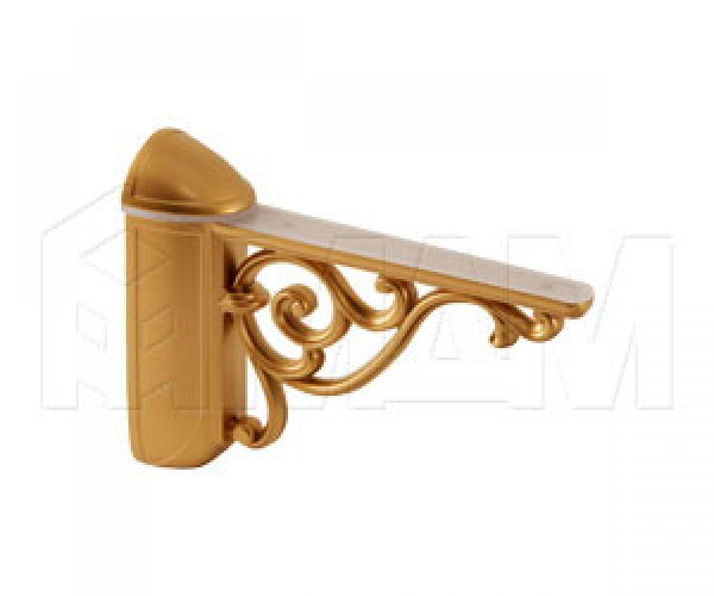 VENICE Менсолодержатель для деревянных и стеклянных полок 4 - 40 мм, L-125 мм, золото матовое Милан