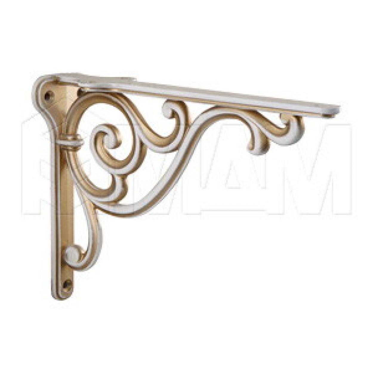 ROME Менсолодержатель для деревянных полок L-200 мм, cлоновая кость/золото винтаж