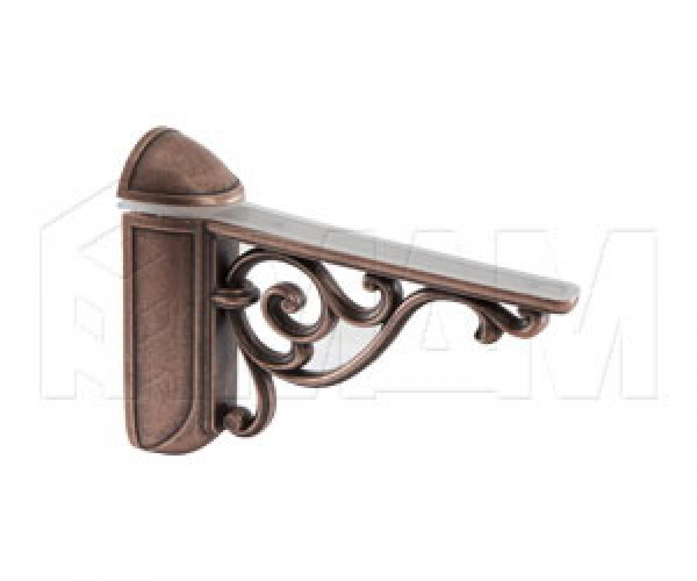 VENICE Менсолодержатель для деревянных и стеклянных полок 4 - 40 мм, L-125 мм, медь состаренная
