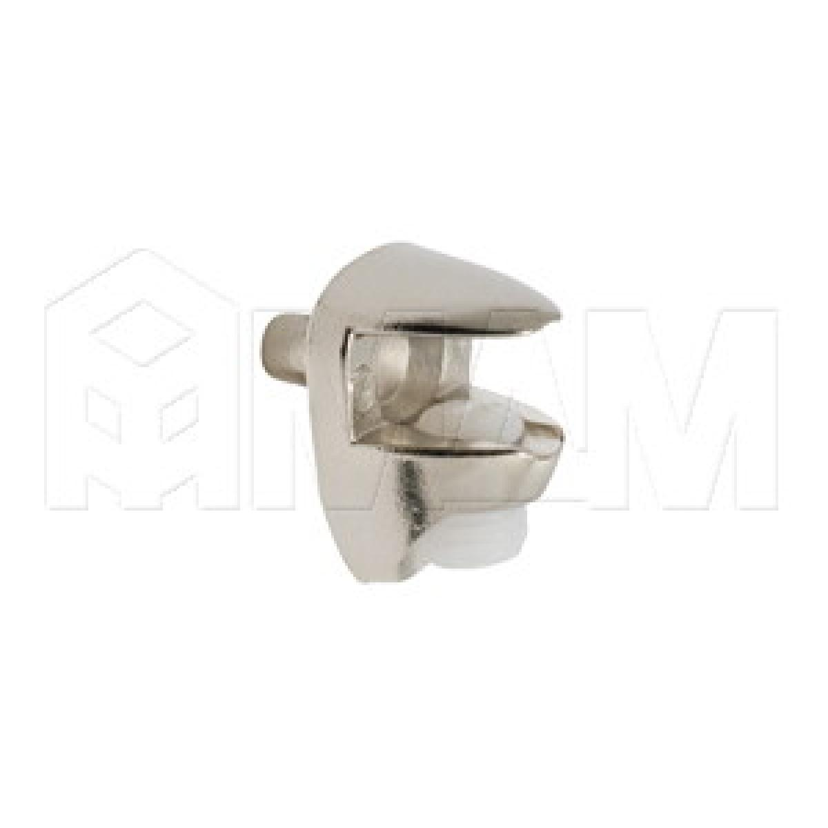 Полкодержатель для стеклянных полок толщиной 5-6 мм, со штоком, никель