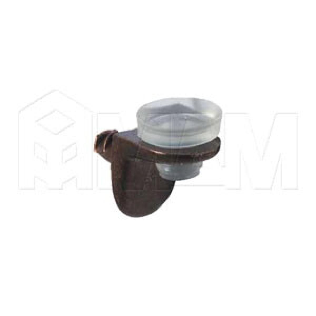Полкодержатель с присоской и дополнительным упором для стеклянных полок, бронза/прозрачный