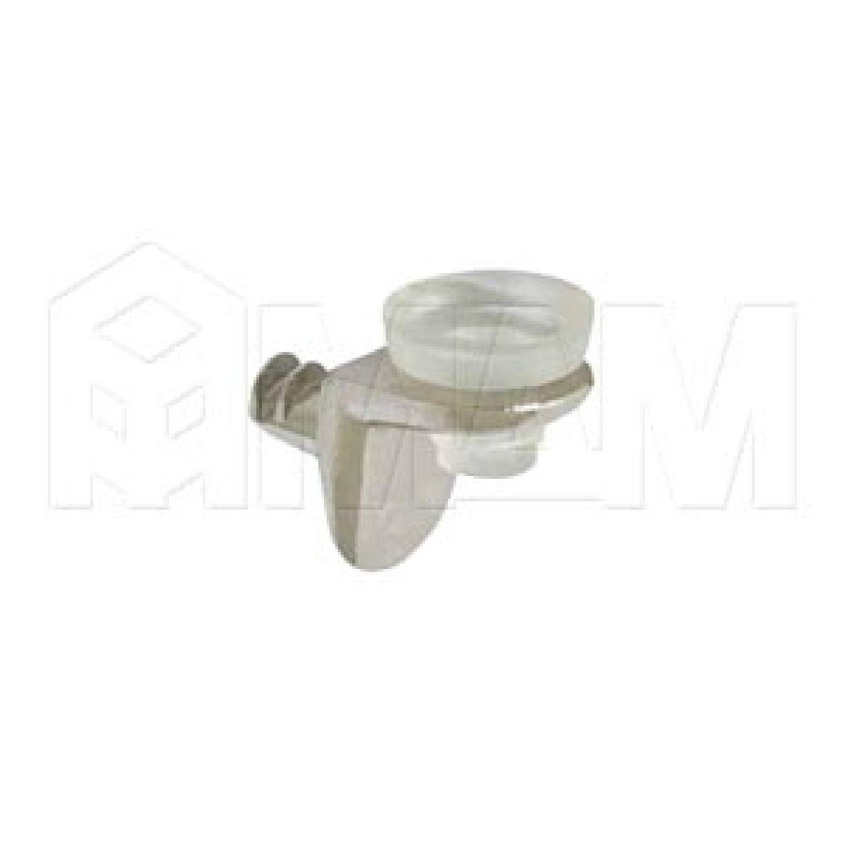 Полкодержатель с присоской и дополнительным упором для стеклянных полок, никель/прозрачный