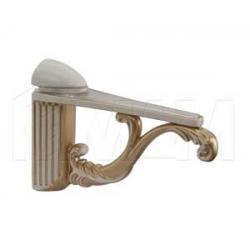 Менсолодержатель для деревянных и стеклянных полок 4 - 25 мм, L-115 мм, cлоновая кость/золото винтаж