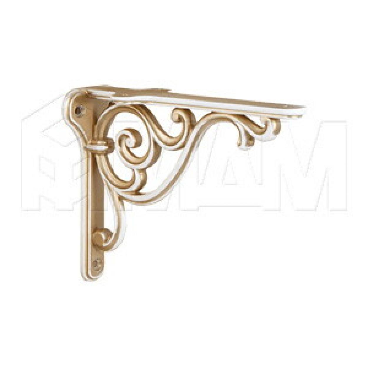 ROME Менсолодержатель для деревянных полок L-150 мм, cлоновая кость/золото винтаж