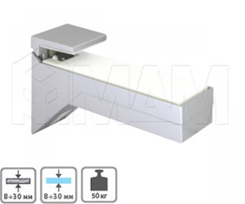 KALABRONE Менсолодержатель для деревянных и стеклянных полок 8 - 30 мм, хром матовый (2 шт.)