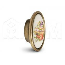 Ручка-кнопка бронза состаренная/керамика фрукты