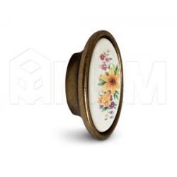 Ручка-кнопка бронза патинированная/керамика мат. лилия
