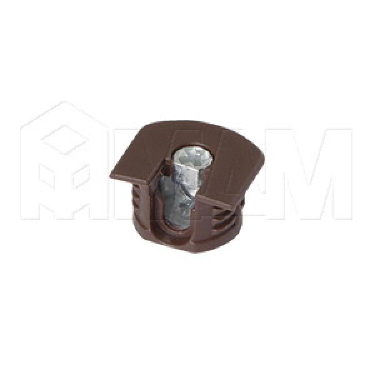 Эксцентрик усиленный в пластиковом корпусе 16 мм с бортиком, коричневый