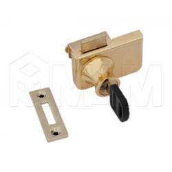 Замок-ручка для 2-х дверей, без сверления, выдвижной + отв. планка, золото