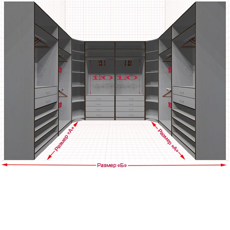 Проект угловой гардеробной комнаты.